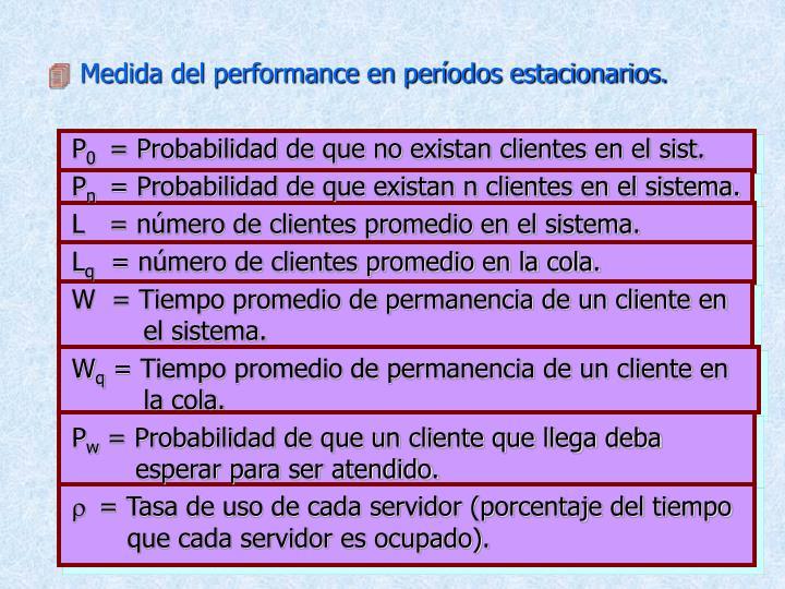 Medida del performance en períodos estacionarios.