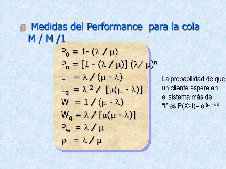 Medidas del Performance  para la cola    M / M /1