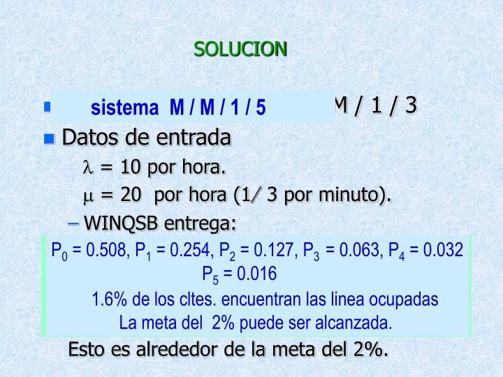 Se trata de un sistema M / M / 1 / 3