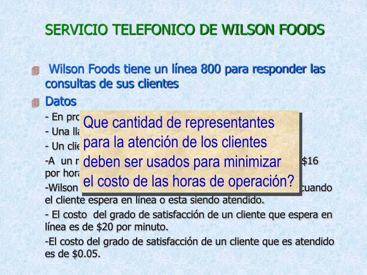 SERVICIO TELEFONICO DE WILSON FOODS