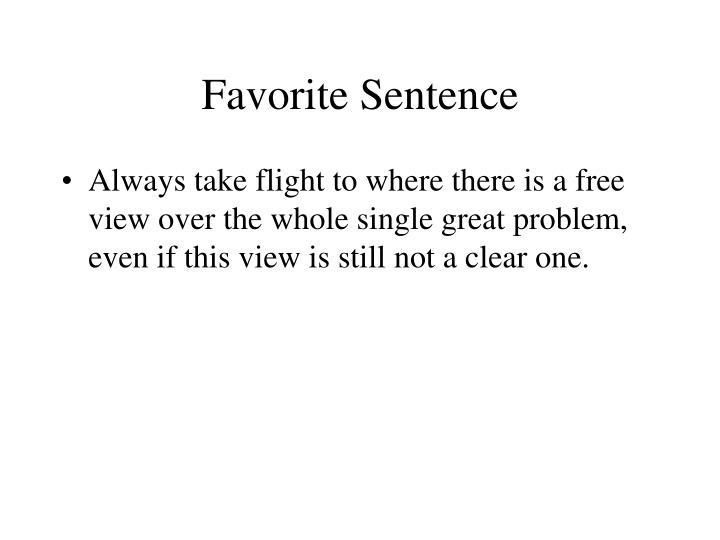 Favorite Sentence