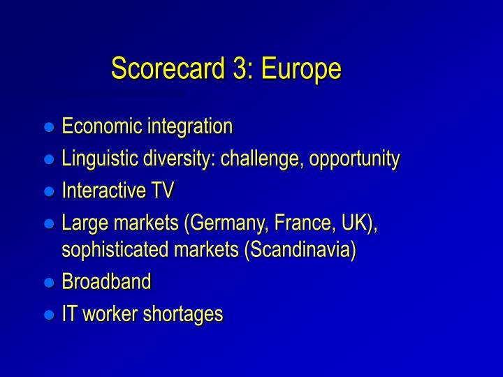 Scorecard 3: Europe