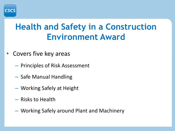 Health and Safety in a Construction Environment Award