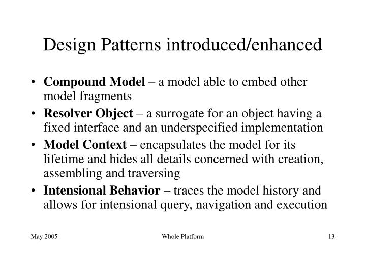 Design Patterns introduced/enhanced