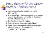dinic s algorithm for unit capacity networks analysis cont3