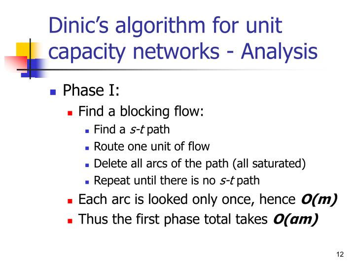 Dinic's algorithm for unit capacity networks - Analysis