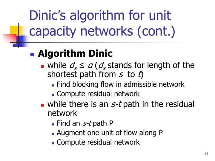 Dinic's algorithm for unit capacity networks (cont.)