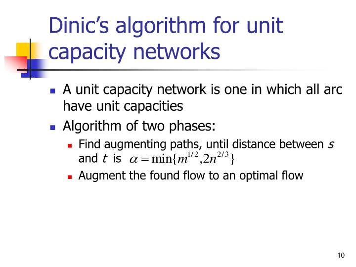 Dinic's algorithm for unit capacity networks