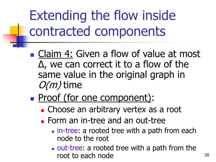 Extending the flow inside contracted components