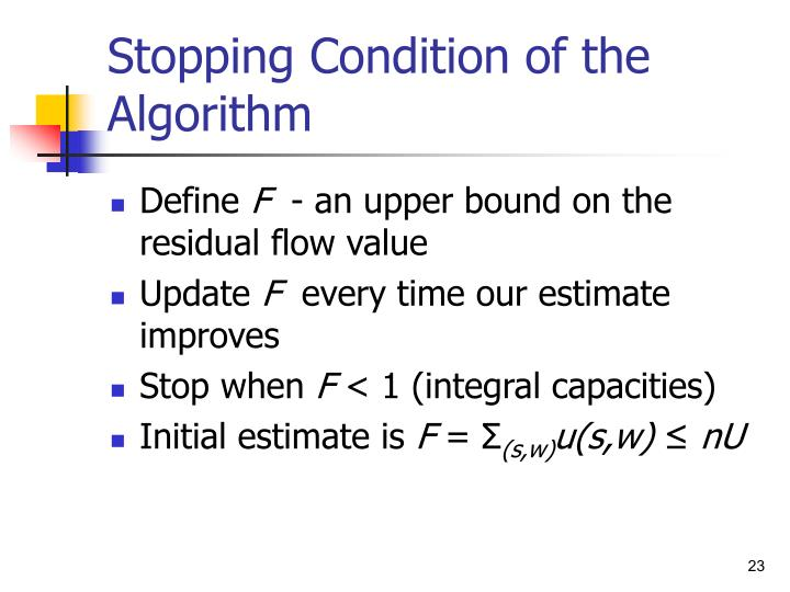 Stopping Condition of the Algorithm