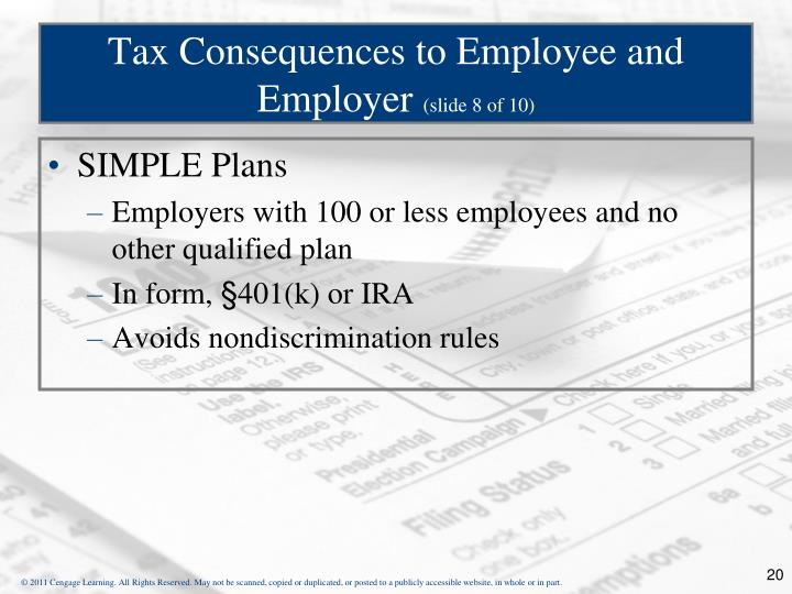 Tax Consequences to Employee and Employer