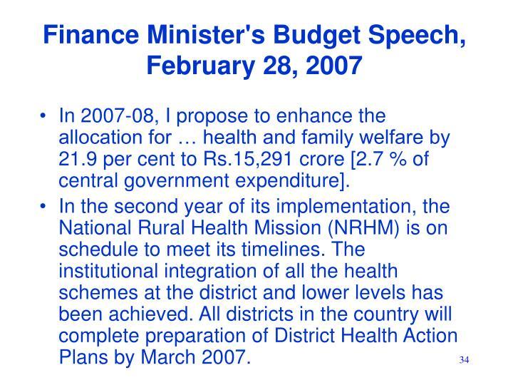 Finance Minister's Budget Speech, February 28, 2007