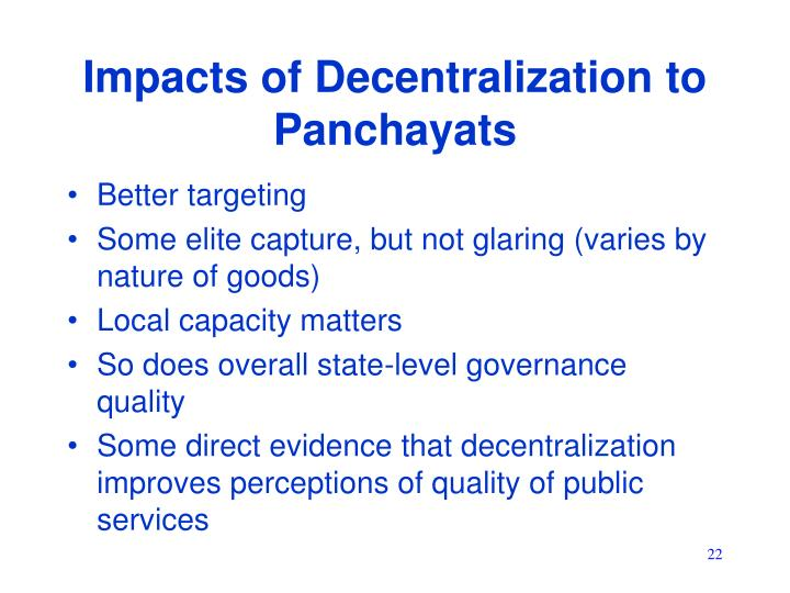 Impacts of Decentralization to Panchayats
