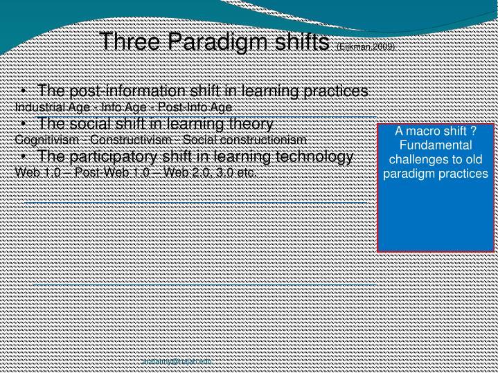 Three Paradigm shifts