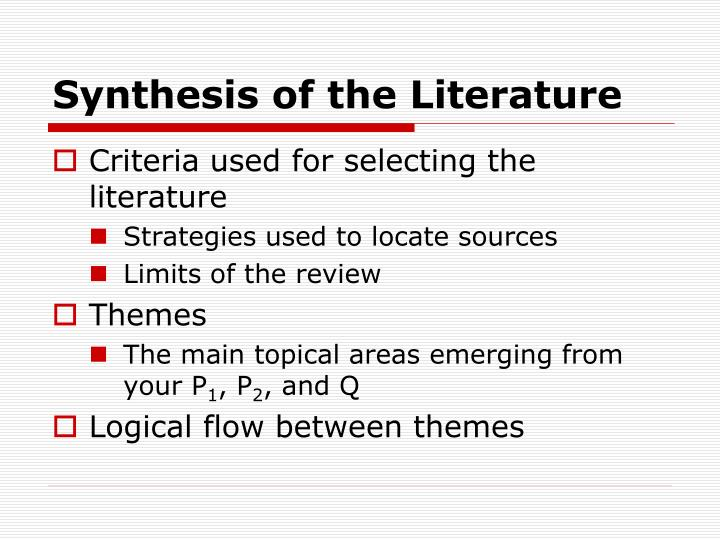 Synthesis of the literature