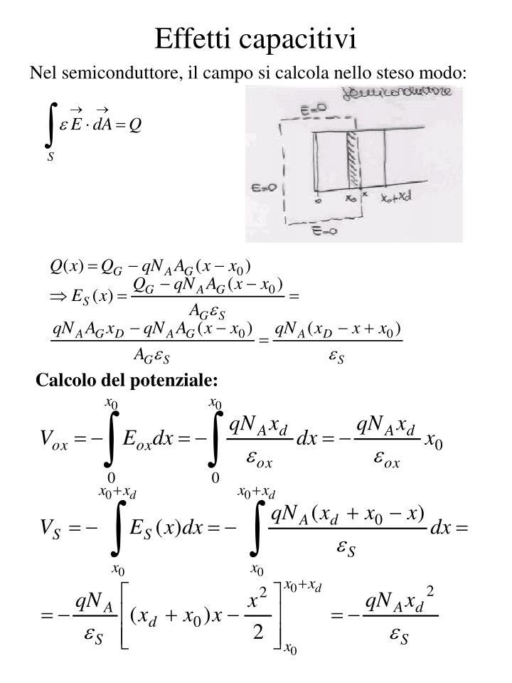 Nel semiconduttore, il campo si calcola nello steso modo: