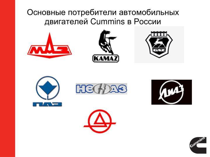Основные потребители автомобильных двигателей
