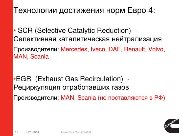 Технологии достижения норм Евро 4: