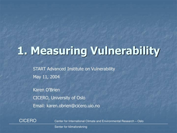 1 measuring vulnerability