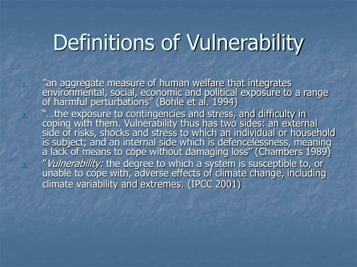Definitions of vulnerability