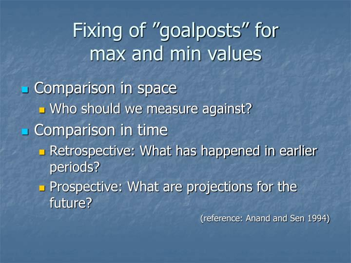 "Fixing of ""goalposts"" for"
