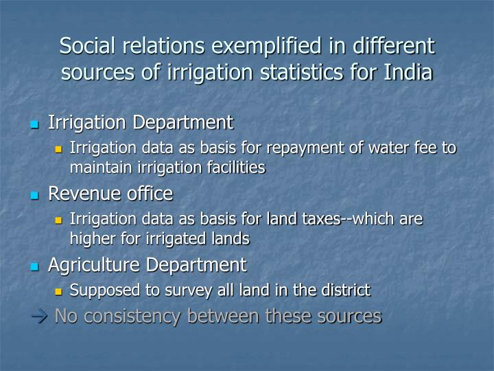 Social relations exemplified in different sources of irrigation statistics for India