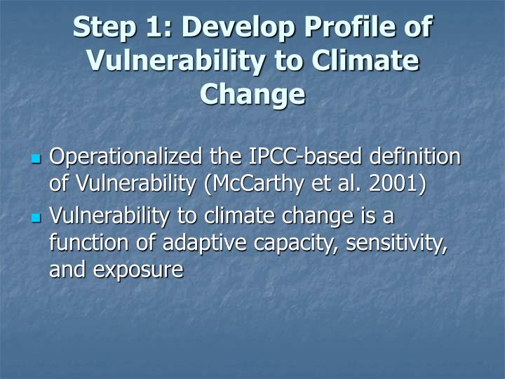 Step 1: Develop Profile of Vulnerability to Climate Change