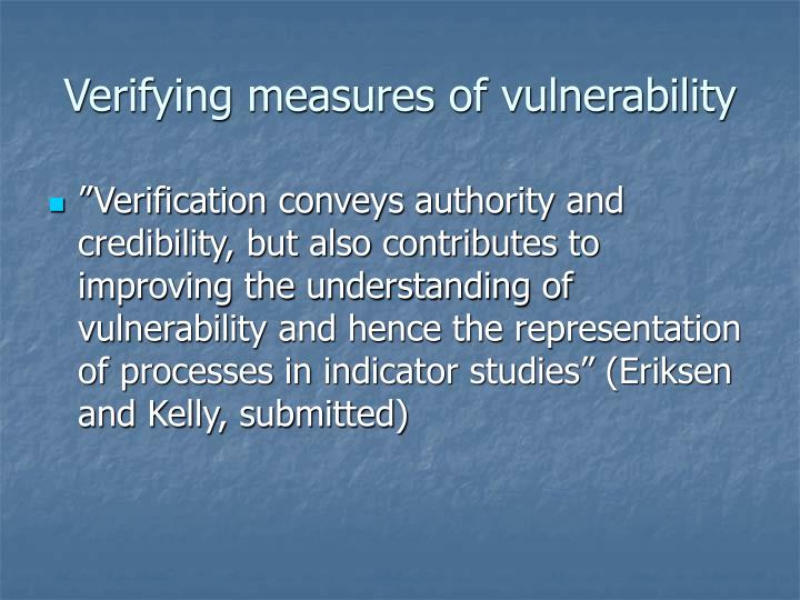 Verifying measures of vulnerability