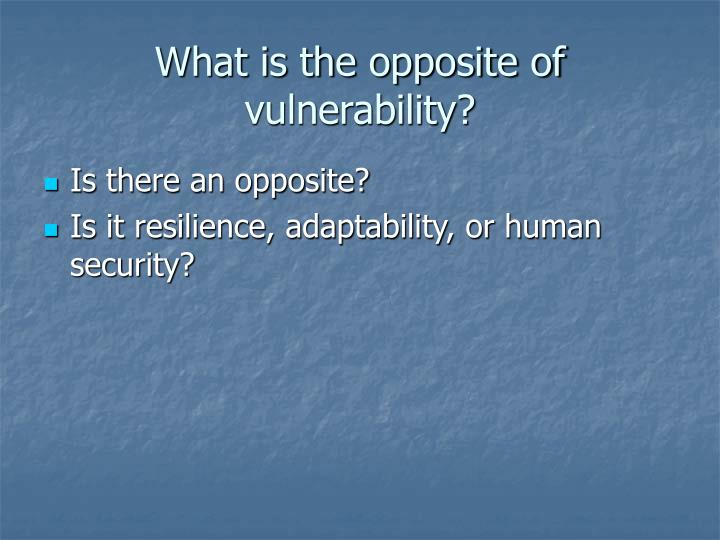 What is the opposite of vulnerability?
