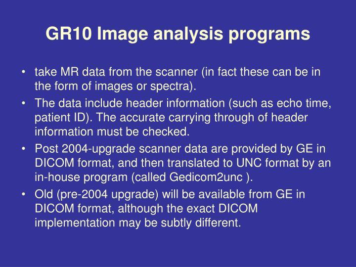 GR10 Image analysis programs