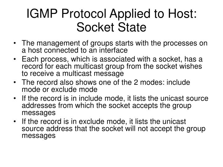 IGMP Protocol Applied to Host: Socket State