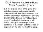 igmp protocol applied to host timer expiration cont
