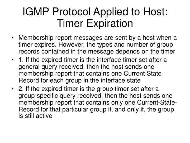 IGMP Protocol Applied to Host: Timer Expiration