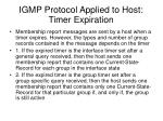 igmp protocol applied to host timer expiration