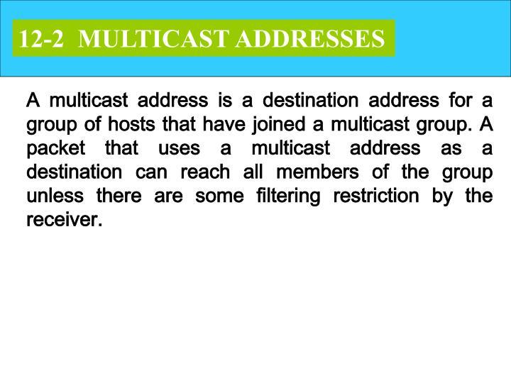 12-2  MULTICAST ADDRESSES
