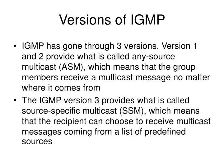 Versions of IGMP
