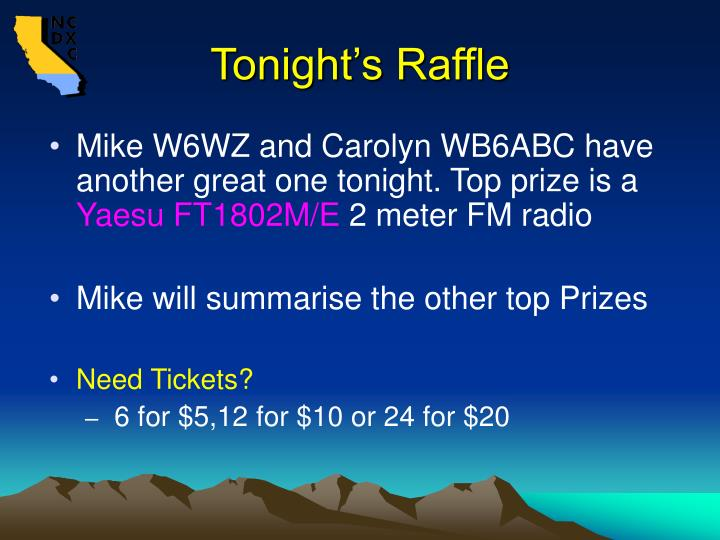 Tonight's Raffle