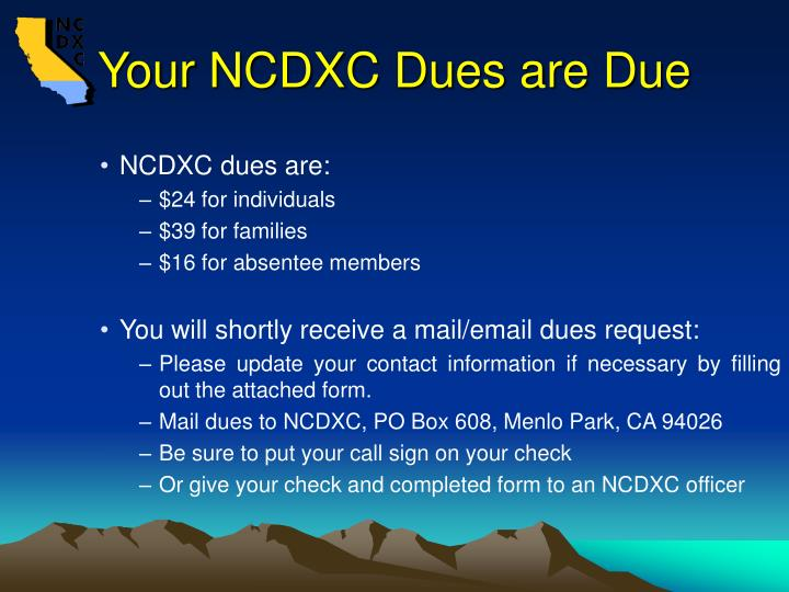 Your NCDXC Dues are Due