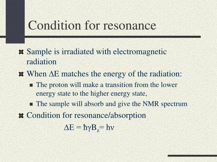 Condition for resonance