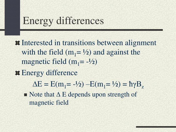 Energy differences