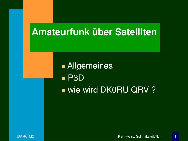 Amateurfunk ber satelliten