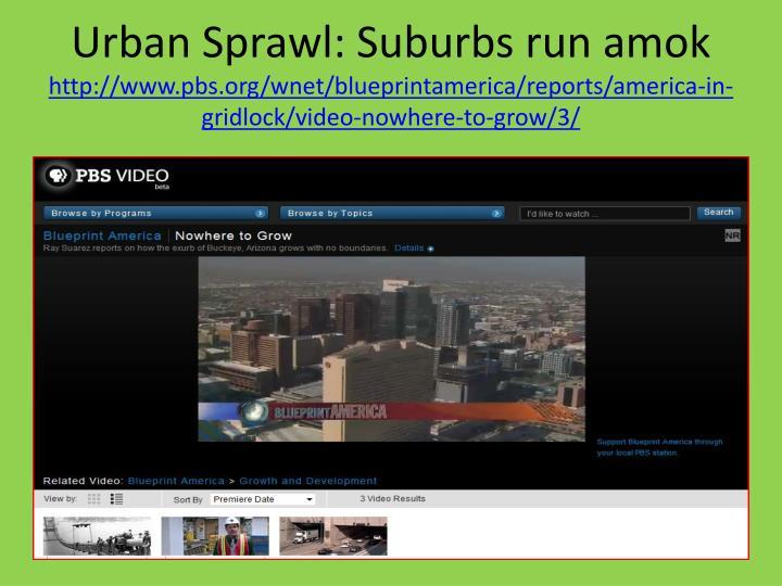 Urban Sprawl: Suburbs run amok