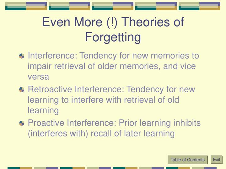 Even More (!) Theories of Forgetting