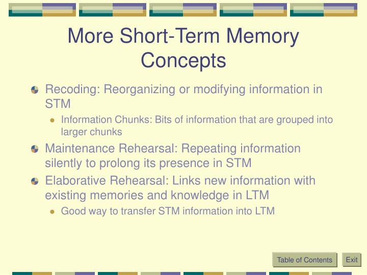 More Short-Term Memory Concepts