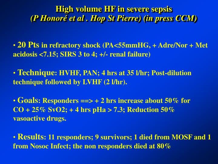 High volume HF in severe sepsis