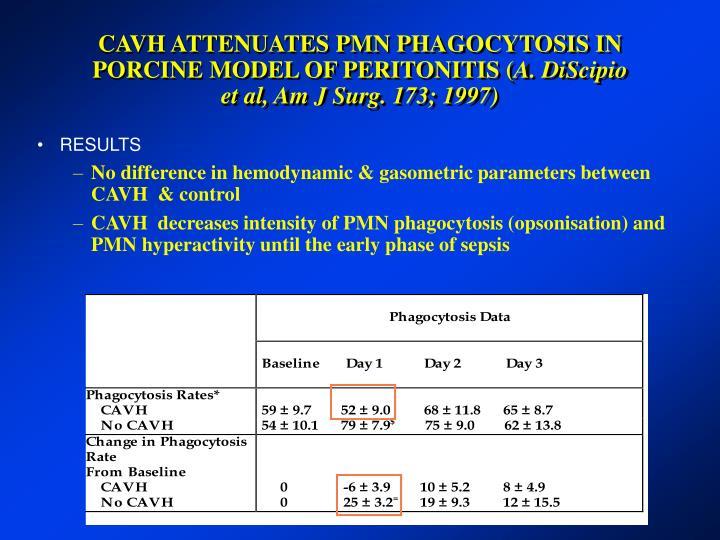 CAVH ATTENUATES PMN PHAGOCYTOSIS IN PORCINE MODEL OF PERITONITIS (