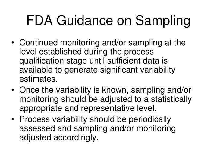 FDA Guidance on Sampling