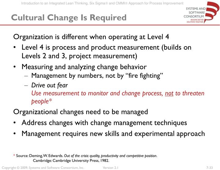 Cultural Change Is Required