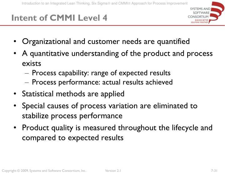 Intent of CMMI Level 4