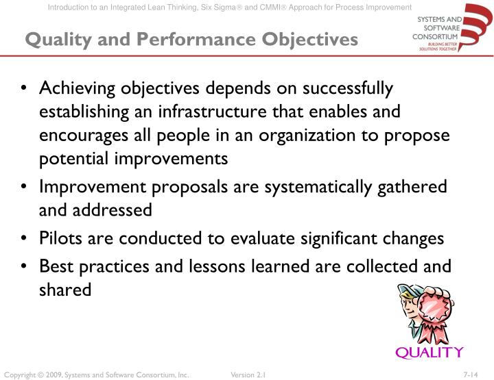 Quality and Performance Objectives